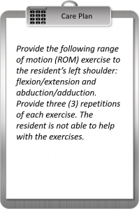 ROM Shoulder care plan